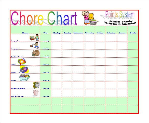 sample chore chart to reduce moms work
