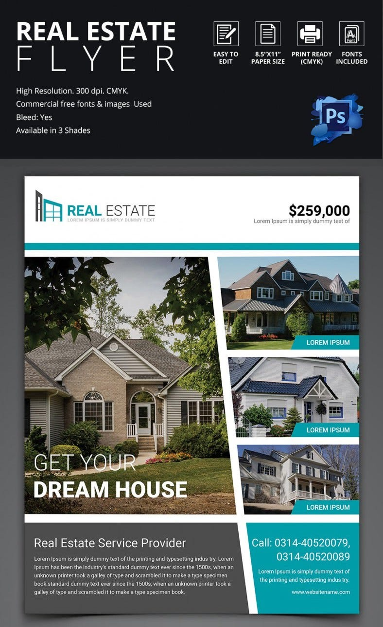 real estate flyer psd ai vector eps format simple real estate flyer in 3 different colors