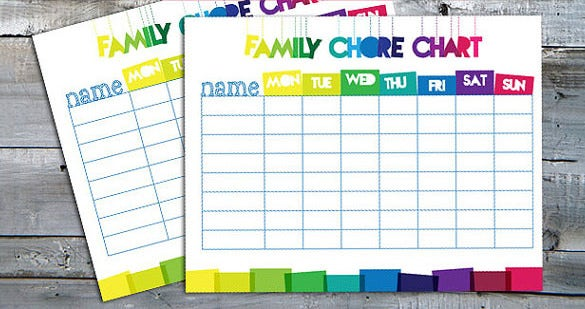 Family Chore Chart Template   Free Sample Example Format