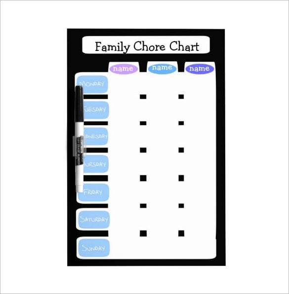 format of a family chore chart template