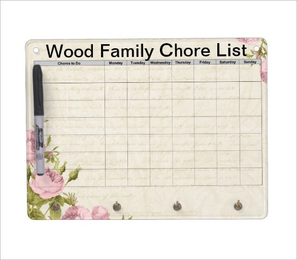 wood family chore chart example template