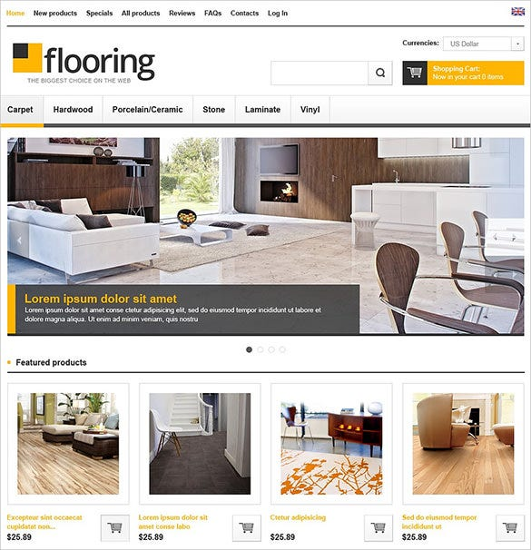 stylish flooring interior design zencart template