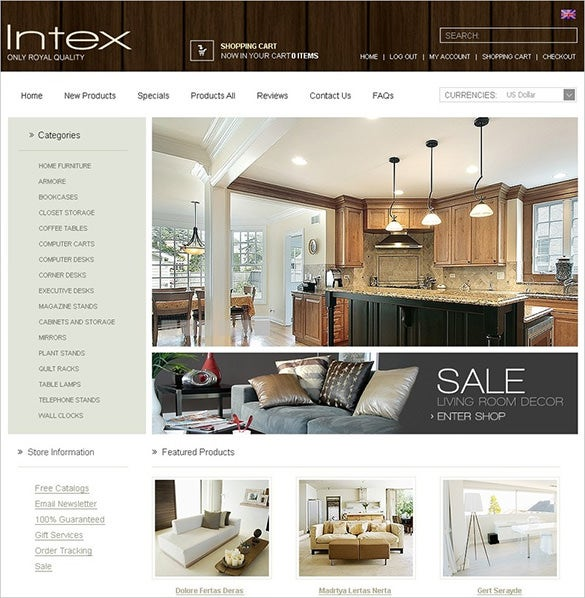 pretty interior design zencart theme