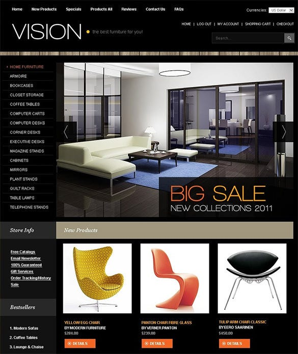 best interior design products zencart theme