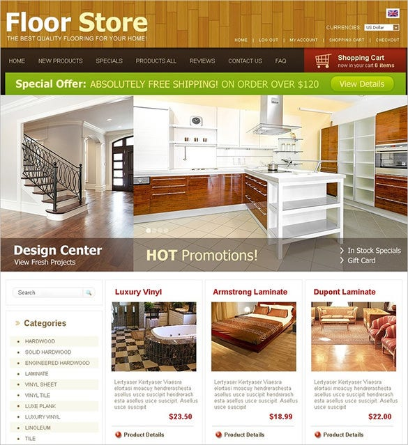 floor store interior design zencart theme