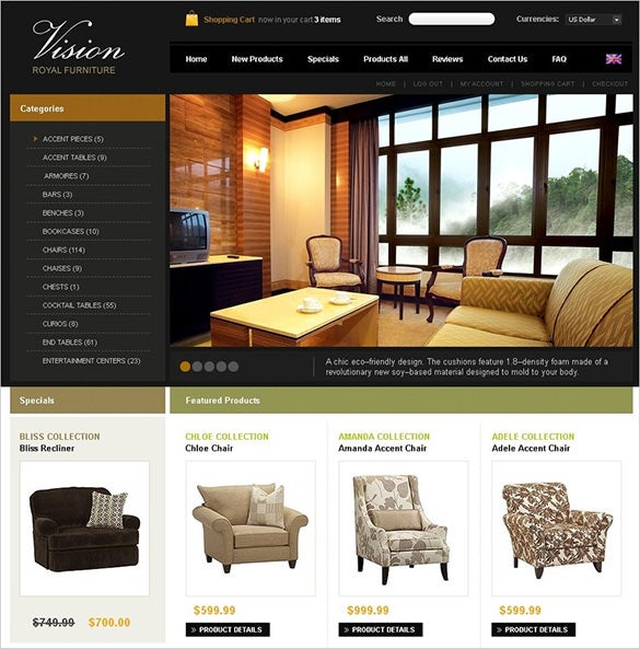 royal furniture interior design zencart template