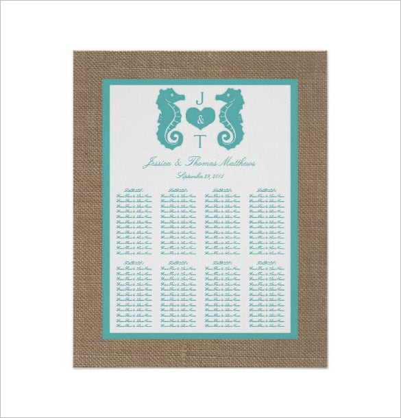beach wedding seating chart example template