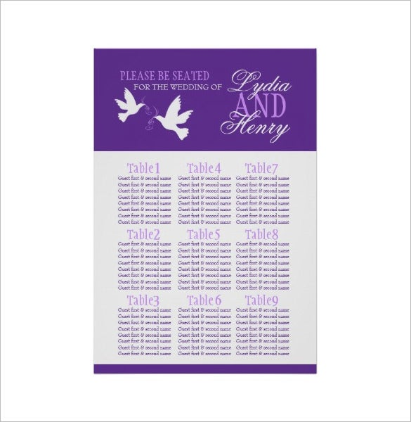purple wedding seating chart example download