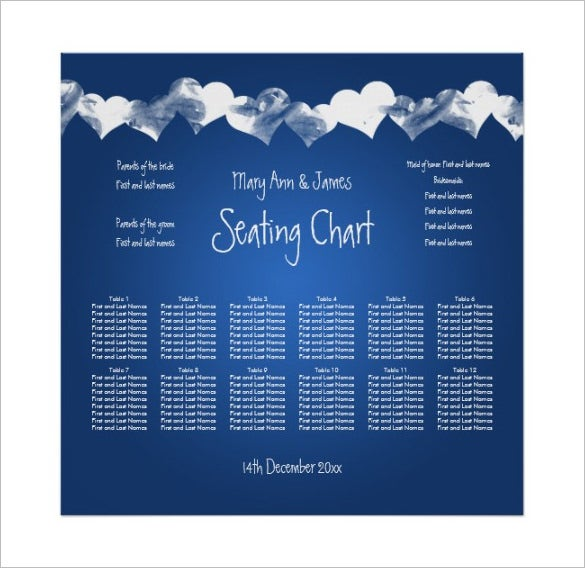hearts blue wedding seating chart sample template