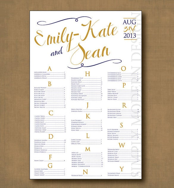 wedding seating chart template 11 free sample example format