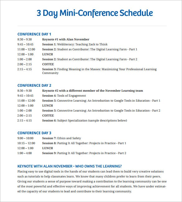 3 days mini conference schedule template pdf