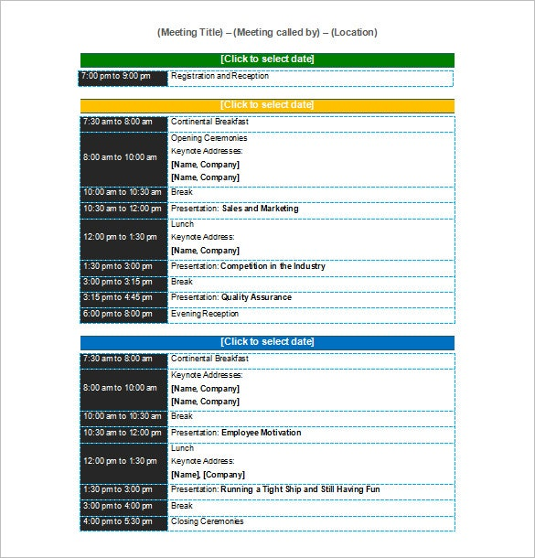 Programme Template For Conference  Meeting Scheduler Template