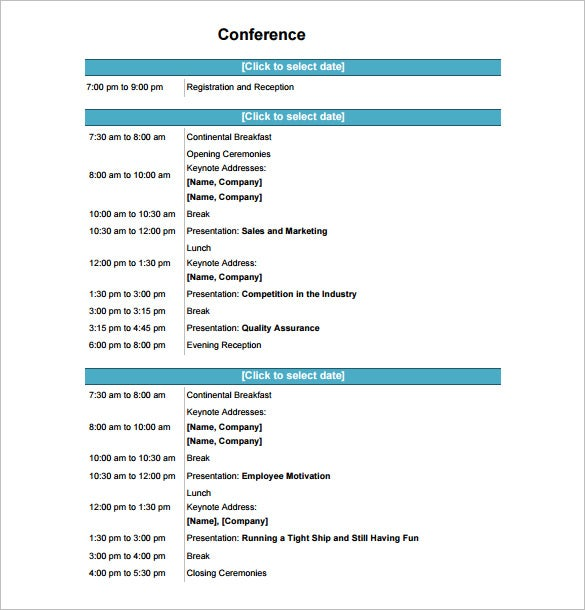 Conference Schedule Template 7 Free Word Excel PDF Format – Conference Agenda Sample