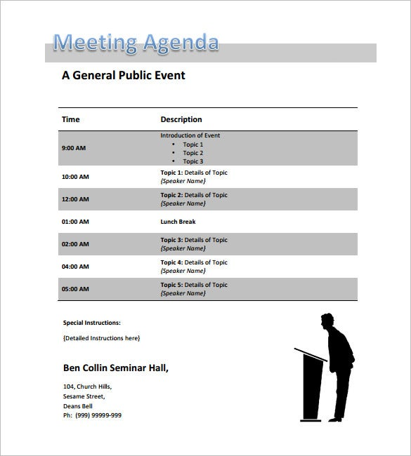 Conference Meeting Agenda Template  Meeting Schedule Template