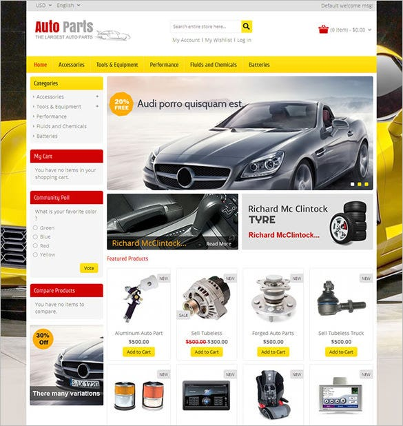 auto part tools magento theme