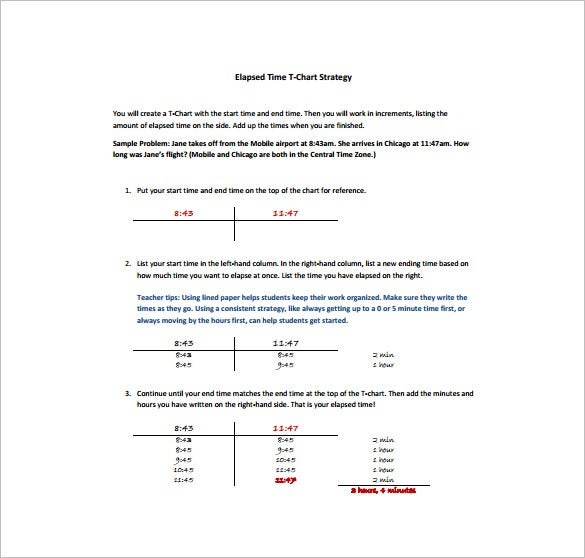 sample of elapsed time t chart free template
