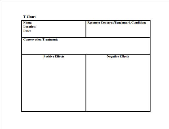T Chart Template   Free Sample Example Format Download  Free