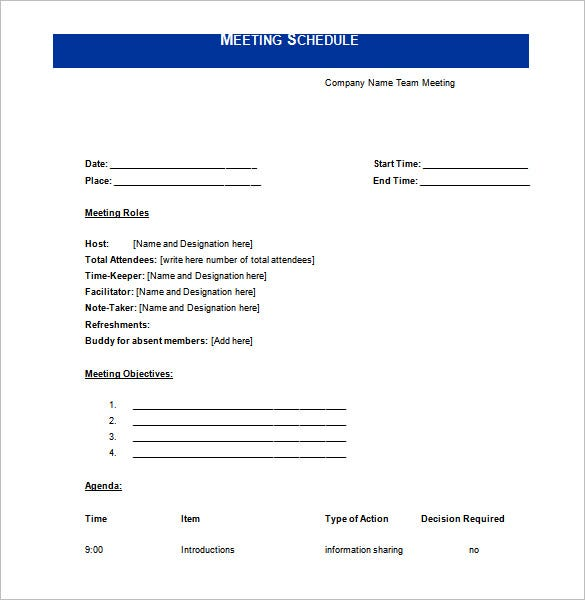 Meeting Schedule Template – 10+ Free Word, Excel, Pdf Format