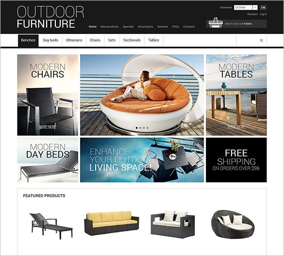 outdoor furniture zencart theme