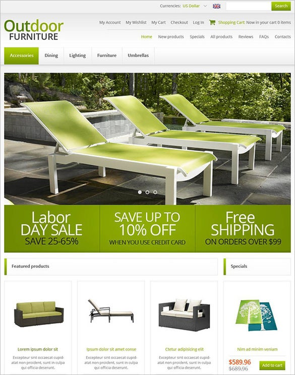 green outdoor furniture zencart template