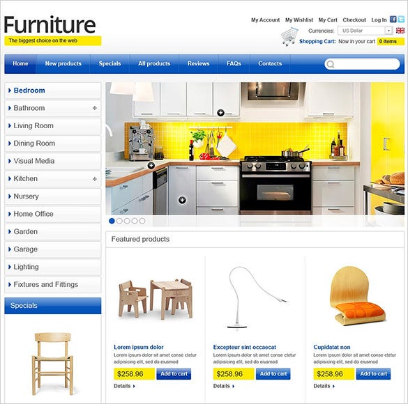 beautiful furniture zencart theme