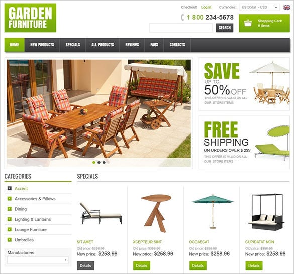 garden furniture zencart template