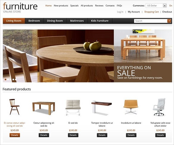 furniture online zencart template