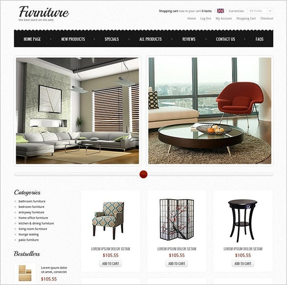 online furniture zencart theme