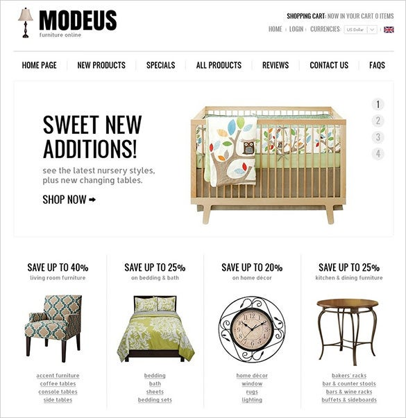 stylish online furniture zencart template