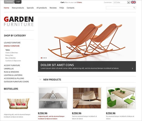 responsive garden furniture zencart theme