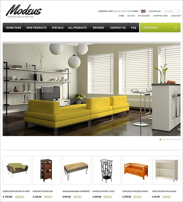 modern furniture zencart template