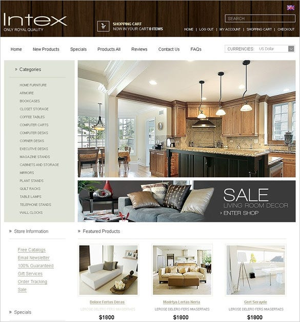 interior furniture zencart theme