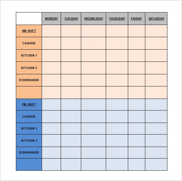 restaurant schedule template