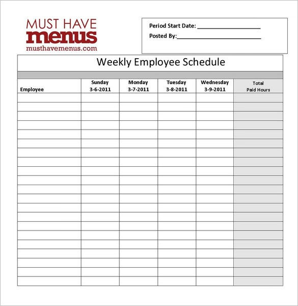 free restaurant schedule template
