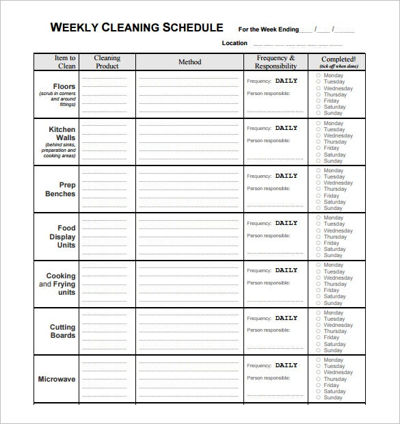 free download weekly cleaning restaurant schedule template
