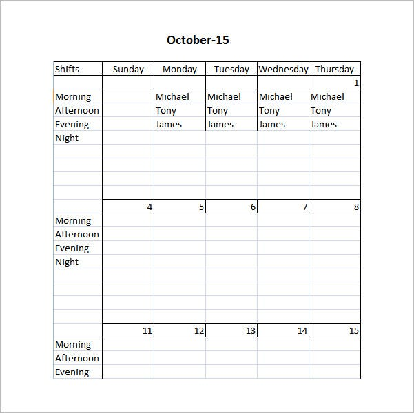 Restaurant schedule template 11 free excel word for Bartender schedule template