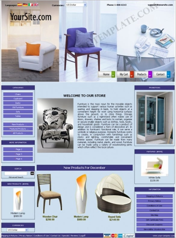 basic online furniture zencart theme