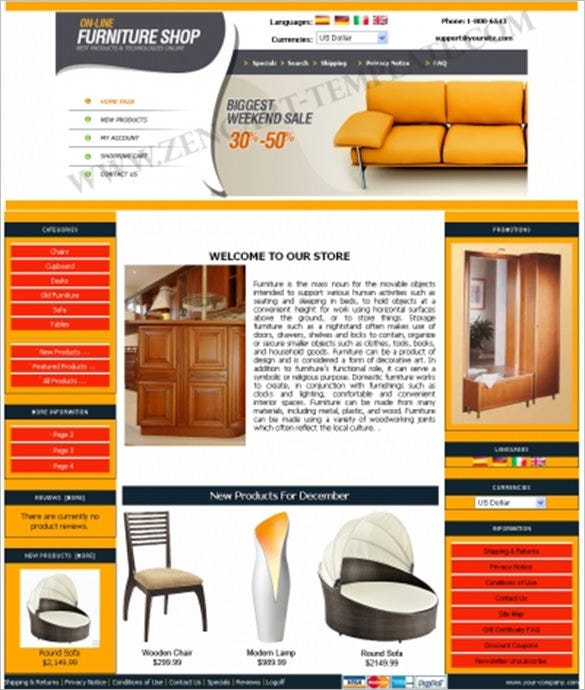 simple online furniture zencart template
