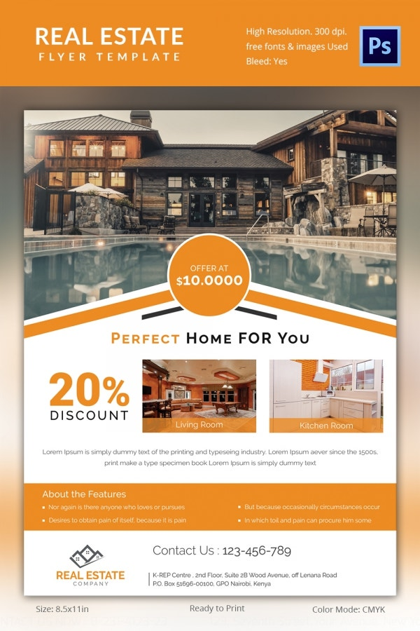 Real Estate Flyer Template Word Trattorialeondoro