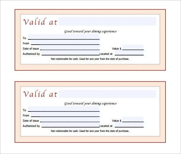 Free Restaurant Gift Certificate Template