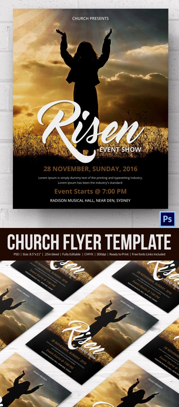 church flyers psd ai vector eps format risen church flyer