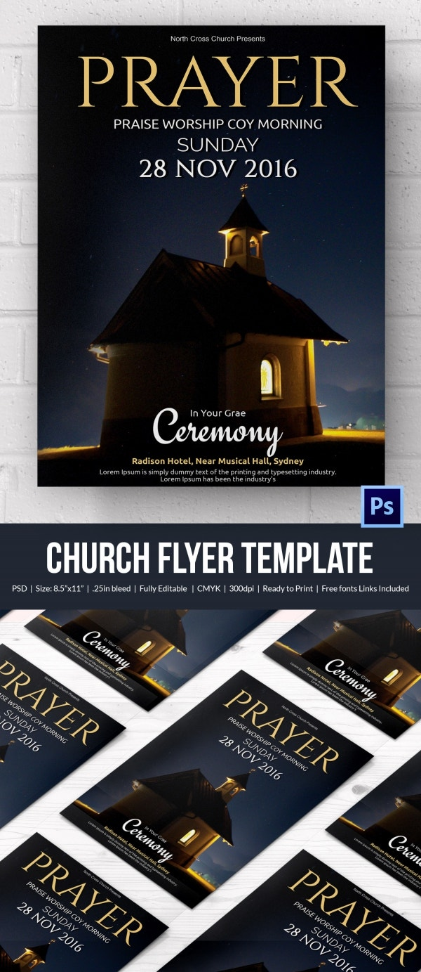 church flyers psd ai vector eps format church ceremony flyer template