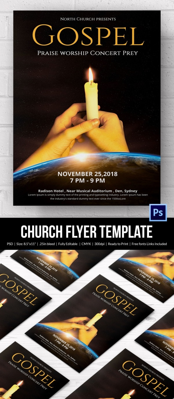 church flyers psd ai vector eps format candle light church flyer