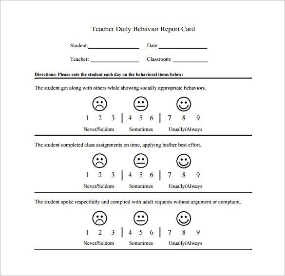 Behavior chart template 12 free sample example format download