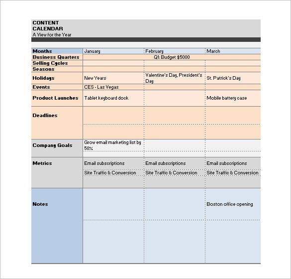 vertical measures content editorial calendar schedule