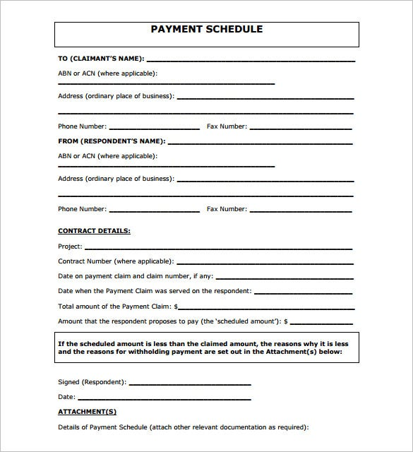 Great Free Download Payment Schedule Template PDF Format