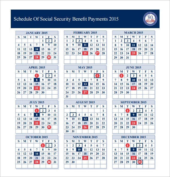 schedule of social security benefit payments 2015
