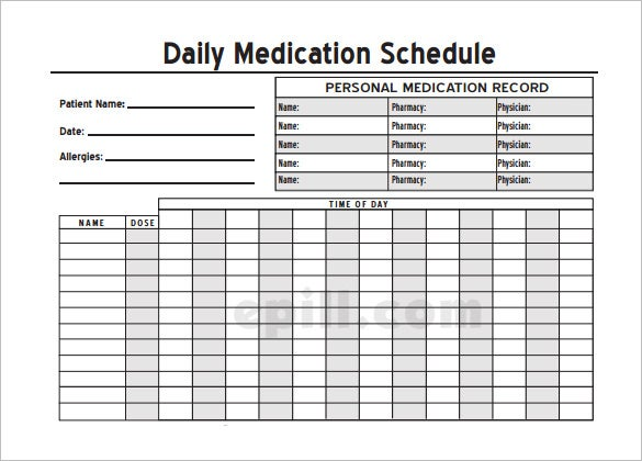 Free Personel Daily Medication Schedule Template PDF  Free Daily Calendar Template With Times