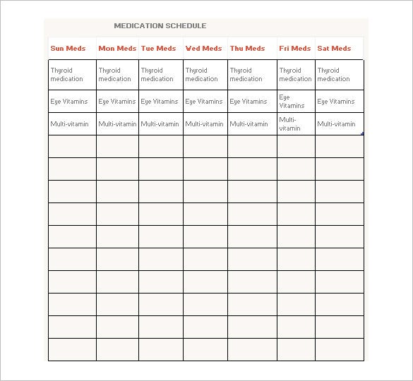 medication schedule template 8 free word excel pdf format