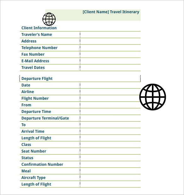 flight travel itinerary schedule template free pdf